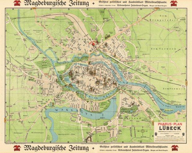 Karte Lübeck.Galerie Kategorie Historische Karten Bild Lübeck 1910