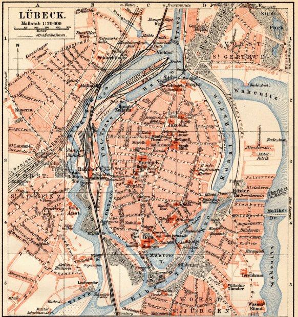 Karte Lübeck.Galerie Kategorie Historische Karten Bild Lübeck 1907 Ii